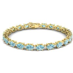 19.7 CTW Sky Blue Topaz & VS/SI Certified Diamond Eternity Bracelet 10K Yellow Gold - REF-98W2F - 29