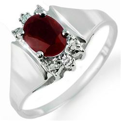 1.10 CTW Ruby & Diamond Ring 10K White Gold - REF-19T6M - 13649