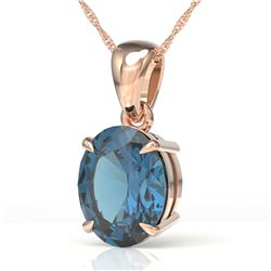 3.50 CTW London Blue Topaz Designer Solitaire necklace 14K Rose Gold - REF-31M3H - 21868