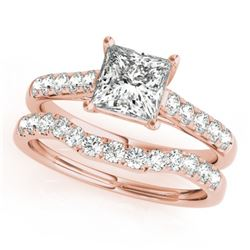 1.21 CTW Certified VS/SI Princess Diamond 2Pc Wedding Set 14K Rose Gold - REF-166M2H - 32073
