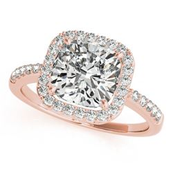 1.01 CTW Certified VS/SI Cushion Diamond Solitaire Halo Ring 18K Rose Gold - REF-222H2A - 27115