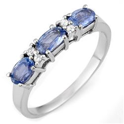 1.33 CTW Blue Sapphire & Diamond Ring 18K White Gold - REF-40F4N - 11289