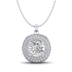 1.25 CTW VS/SI Diamond Solitaire Art Deco Necklace 18K White Gold - REF-272K8W - 37259