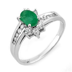 1.03 CTW Emerald & Diamond Ring 18K White Gold - REF-41X3T - 11019