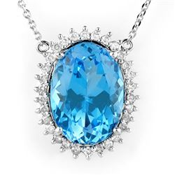 19.0 CTW Blue Topaz & Diamond Necklace 14K White Gold - REF-220A5X - 10532