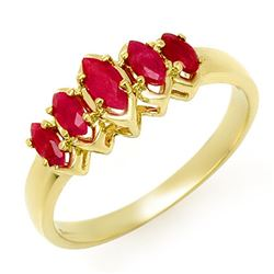 0.50 CTW Ruby Ring 10K Yellow Gold - REF-15Y5K - 13134