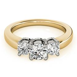 1 CTW Certified VS/SI Diamond 3 Stone Solitaire Ring 18K Yellow Gold - REF-170A2X - 28067