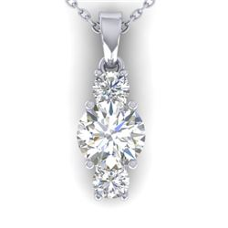 1.5 CTW Certified VS/SI Diamond Art Deco Stud Necklace 14K White Gold - REF-378X4T - 30309