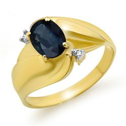 1.08 CTW Blue Sapphire & Diamond Ring 10K Yellow Gold - REF-17H8A - 12702