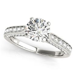 1.35 CTW Certified VS/SI Diamond Solitaire Ring 18K White Gold - REF-225K8W - 27522