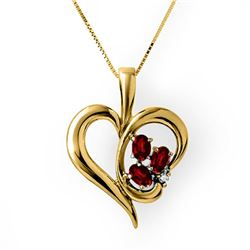 1.12 CTW Ruby & Diamond Pendant 10K Yellow Gold - REF-20M8H - 13911