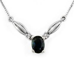 1.30 CTW Blue Sapphire & Diamond Necklace 10K White Gold - REF-18Y9K - 11721