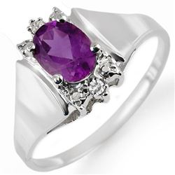 1.23 CTW Amethyst & Diamond Ring 10K White Gold - REF-15K3W - 10382