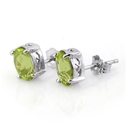 2.0 CTW Peridot Solitaire Stud Earrings 14K White Gold - REF-23X3T - 10280
