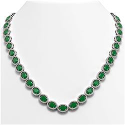 52.15 CTW Emerald & Diamond Halo Necklace 10K White Gold - REF-655M3H - 40553