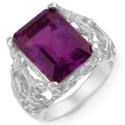8.03 CTW Amethyst & Diamond Ring 10K White Gold - REF-42M9H - 10915
