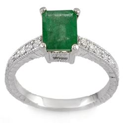 2.15 CTW Emerald & Diamond Ring 14K White Gold - REF-54H5A - 11586
