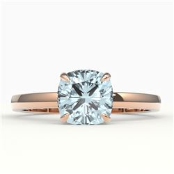 1.50 CTW Cushion Cut Aquamarine Designer Solitaire Engagement Ring 14K Rose Gold - REF-27H6A - 22131