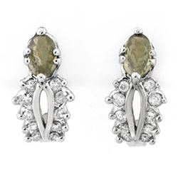 0.95 CTW Green Sapphire & Diamond Earrings 10K White Gold - REF-30H2A - 10237