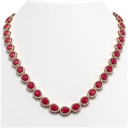 45.93 CTW Ruby & Diamond Halo Necklace 10K Rose Gold - REF-674A2X - 41046