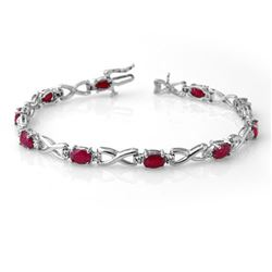 8.50 CTW Ruby & Diamond Bracelet 14K White Gold - REF-80M2H - 14068