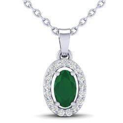 0.51 CTW Emerald & Micro Pave VS/SI Diamond Necklace Halo 18K White Gold - REF-25A5X - 21319