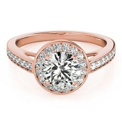 0.9 CTW Certified VS/SI Diamond Solitaire Halo Ring 18K Rose Gold - REF-122M2H - 26561