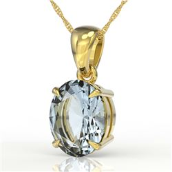 3.50 CTW Sky Blue Topaz Designer Inspired Solitaire Necklace 18K Yellow Gold - REF-29M3H - 21887
