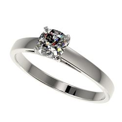 0.50 CTW Certified VS/SI Quality Cushion Cut Diamond Solitaire Ring 10K White Gold - REF-64W3F - 329