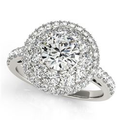 2.09 CTW Certified VS/SI Diamond Solitaire Halo Ring 18K White Gold - REF-444K2W - 26494