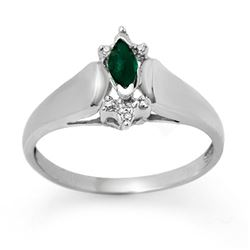 0.22 CTW Emerald & Diamond Ring 10K White Gold - REF-14W2F - 12280