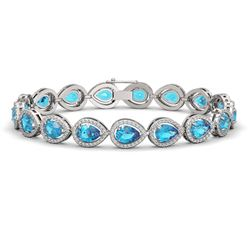 16.59 CTW Swiss Topaz & Diamond Halo Bracelet 10K White Gold - REF-276T8M - 41123
