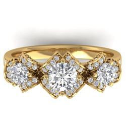 2 CTW Certified VS/SI Diamond Art Deco 3 Stone Ring Band 14K Yellow Gold - REF-200W5F - 30284