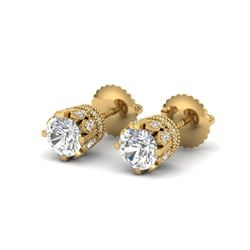 1.75 CTW VS/SI Diamond Solitaire Art Deco Stud Earrings 18K Yellow Gold - REF-249H3A - 36835