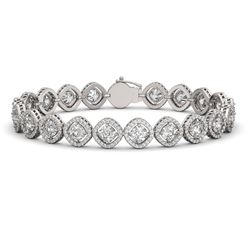 15.58 CTW Cushion Cut Diamond Designer Bracelet 18K White Gold - REF-2887F8N - 42860