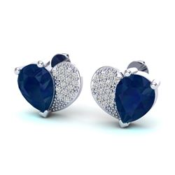 2.50 CTW Sapphire & Micro Pave VS/SI Diamond Earrings 10K White Gold - REF-31T8M - 20079