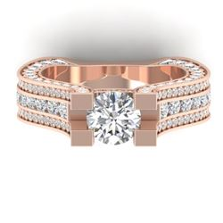 4.5 CTW Certified VS/SI Diamond Art Deco Micro Ring 14K Rose Gold - REF-572H4A - 30286