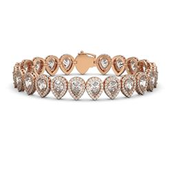 18.55 CTW Pear Diamond Designer Bracelet 18K Rose Gold - REF-3398N9Y - 42825
