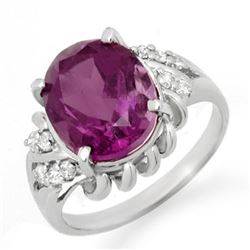 3.21 CTW Amethyst & Diamond Ring 18K White Gold - REF-44T2M - 12567