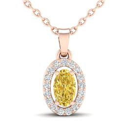 0.65 CTW Citrine & Micro Pave VS/SI Diamond Necklace Halo 14K Rose Gold - REF-22A2X - 21316