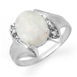 0.93 CTW Opal & Diamond Ring 10K White Gold - REF-18X8T - 12519