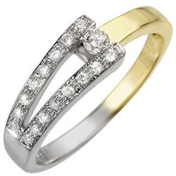 0.30 CTW Certified VS/SI Diamond Ring 10K 2-Tone Gold - REF-25T8M - 10284