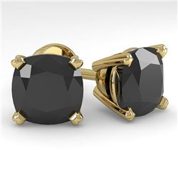 12 CTW Cushion Black Diamond Stud Designer Earrings 18K Yellow Gold - REF-270K2W - 32332