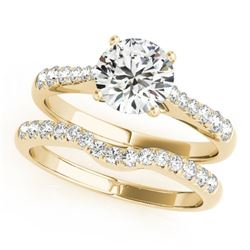 0.98 CTW Certified VS/SI Diamond Solitaire 2Pc Wedding Set 14K Yellow Gold - REF-129A5X - 31576