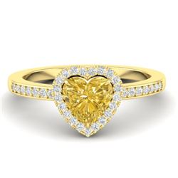 1 CTW Citrine & Micro Pave Ring Heart Halo 14K Yellow Gold - REF-34N9Y - 21404