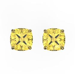 3 CTW Cushion Cut Citrine Designer Solitaire Stud Earrings 18K Yellow Gold - REF-29W3F - 21739