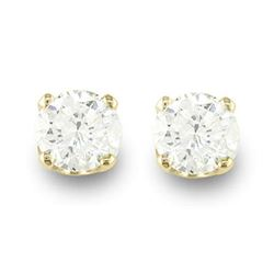 0.33 CTW Certified VS/SI Diamond Solitaire Stud Earrings 14K Yellow Gold - REF-25Y3K - 12606