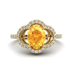 1.75 CTW Citrine & Micro Pave VS/SI Diamond Ring 10K Yellow Gold - REF-32N9Y - 20980