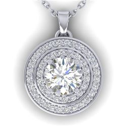 0.9 CTW Certified VS/SI Diamond Art Deco Halo Necklace 14K White Gold - REF-116F4N - 30369