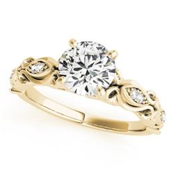 0.6 CTW Certified VS/SI Diamond Solitaire Antique Ring 18K Yellow Gold - REF-126N8Y - 27269